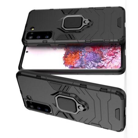 Двухслойный гибридный противоударный чехол с кольцом для пальца подставкой для Samsung Galaxy S21 Черный
