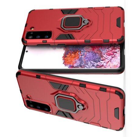 Двухслойный гибридный противоударный чехол с кольцом для пальца подставкой для Samsung Galaxy S21 Красный