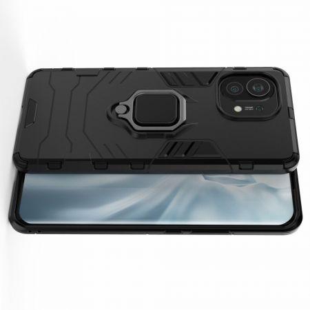 Двухслойный гибридный противоударный чехол с кольцом для пальца подставкой для Xiaomi Mi 11 Черный