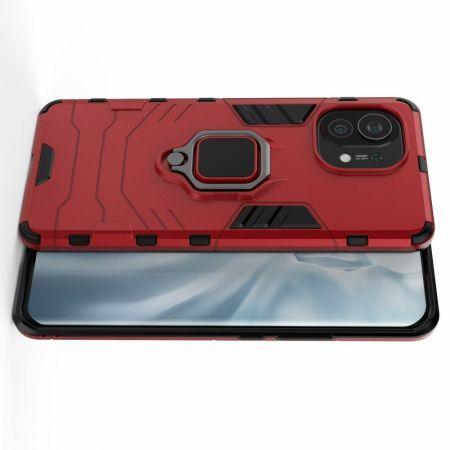 Двухслойный гибридный противоударный чехол с кольцом для пальца подставкой для Xiaomi Mi 11 Красный