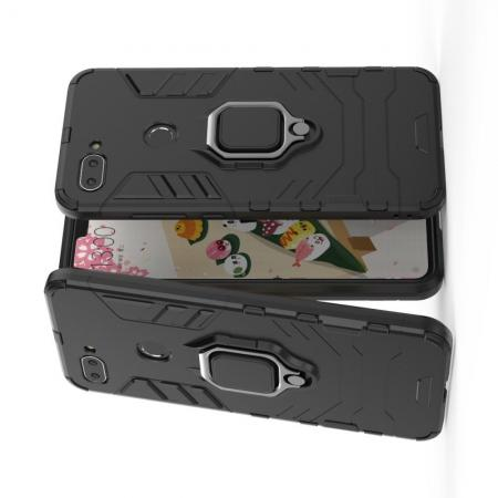 Двухслойный гибридный противоударный чехол с кольцом для пальца подставкой для Xiaomi Mi 8 Lite Черный