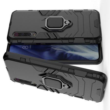 Двухслойный гибридный противоударный чехол с кольцом для пальца подставкой для Xiaomi Mi 9 Pro Черный