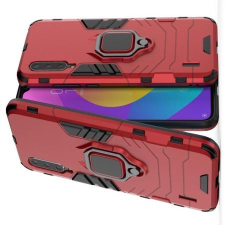 Двухслойный гибридный противоударный чехол с кольцом для пальца подставкой для Xiaomi Mi 9 Lite Красный