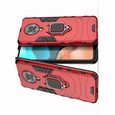 Двухслойный гибридный противоударный чехол с кольцом для пальца подставкой для Xiaomi Poco F2 Pro Красный