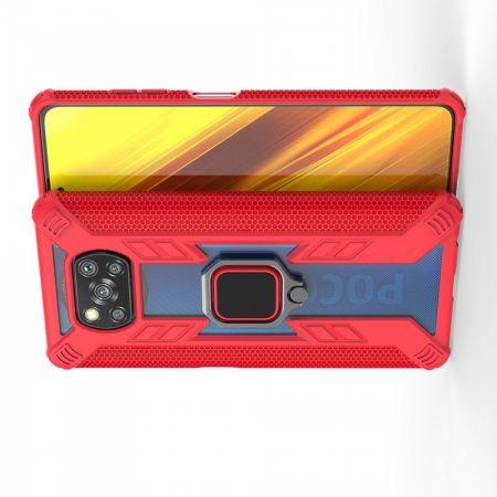 Двухслойный гибридный противоударный чехол с кольцом для пальца подставкой для Xiaomi Poco X3 NFC Красный