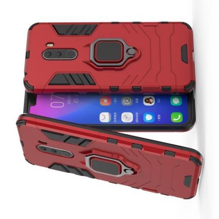 Двухслойный гибридный противоударный чехол с кольцом для пальца подставкой для Xiaomi Pocophone F1 Красный