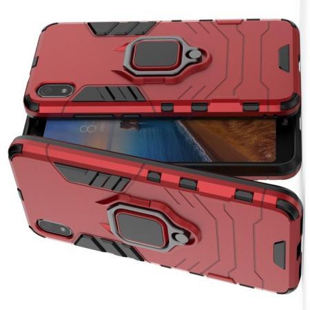Двухслойный гибридный противоударный чехол с кольцом для пальца подставкой для Xiaomi Redmi 7A Красный