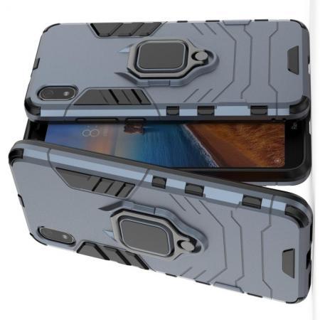 Двухслойный гибридный противоударный чехол с кольцом для пальца подставкой для Xiaomi Redmi 7A Серый