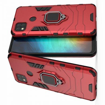 Двухслойный гибридный противоударный чехол с кольцом для пальца подставкой для Xiaomi Redmi 9C Красный
