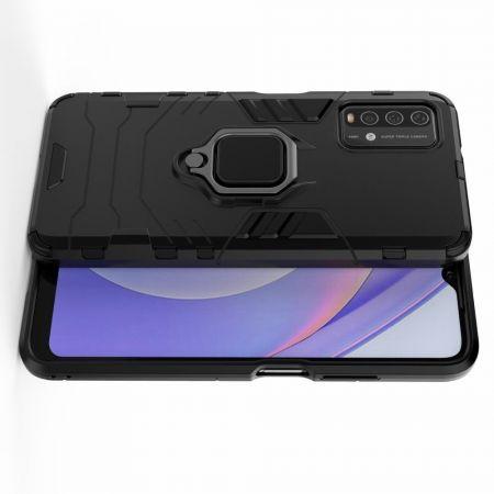 Двухслойный гибридный противоударный чехол с кольцом для пальца подставкой для Xiaomi Redmi 9T Черный