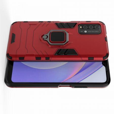 Двухслойный гибридный противоударный чехол с кольцом для пальца подставкой для Xiaomi Redmi 9T Красный