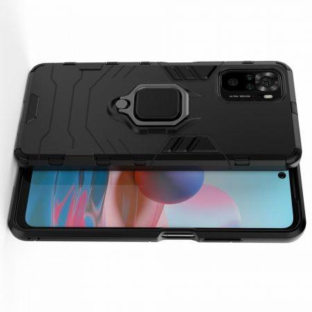 Двухслойный гибридный противоударный чехол с кольцом для пальца подставкой для Xiaomi Redmi Note 10 Черный