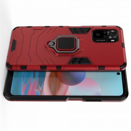 Двухслойный гибридный противоударный чехол с кольцом для пальца подставкой для Xiaomi Redmi Note 10 Красный