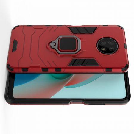 Двухслойный гибридный противоударный чехол с кольцом для пальца подставкой для Xiaomi Redmi Note 9T Красный