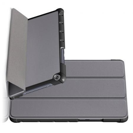 Двухсторонний Чехол Книжка для планшета Huawei MediaPad M5 Lite 8 Искусственно Кожаный с Подставкой Серый