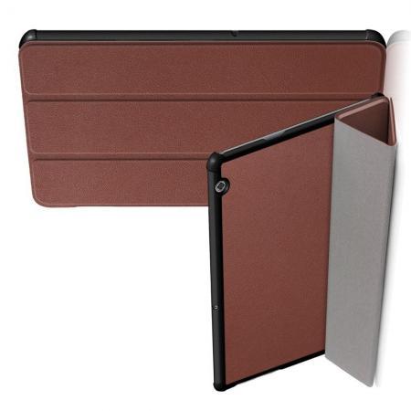 Двухсторонний Чехол Книжка для планшета Huawei Mediapad T5 10 Искусственно Кожаный с Подставкой Коричневый
