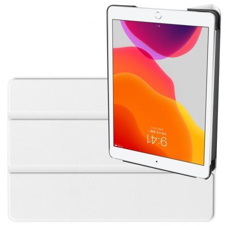 Двухсторонний Чехол Книжка для планшета iPad 10.2 2019 Искусственно Кожаный с Подставкой Белый
