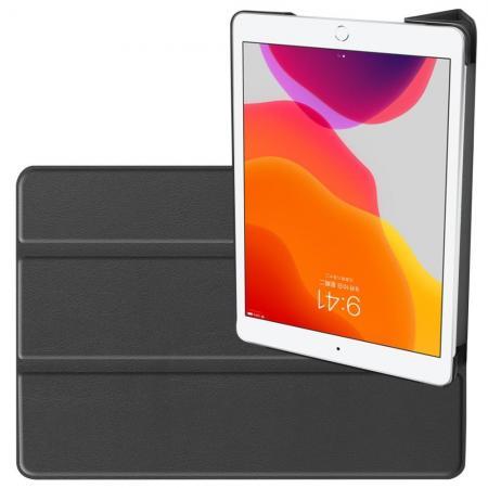 Двухсторонний Чехол Книжка для планшета iPad 10.2 2019 Искусственно Кожаный с Подставкой Черный