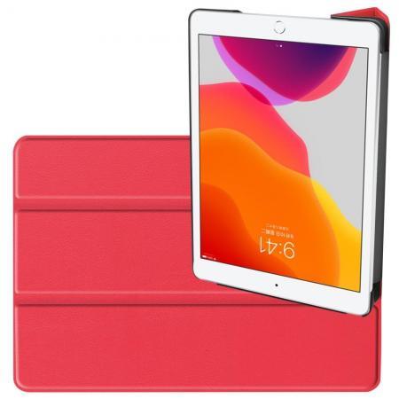 Двухсторонний Чехол Книжка для планшета iPad 10.2 2019 Искусственно Кожаный с Подставкой Красный
