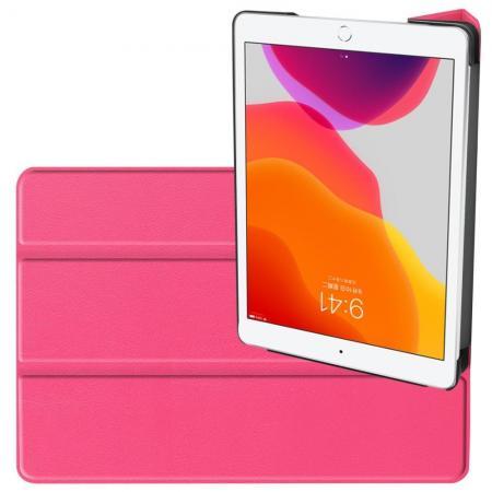 Двухсторонний Чехол Книжка для планшета iPad 10.2 2019 Искусственно Кожаный с Подставкой Розовый
