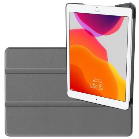 Двухсторонний Чехол Книжка для планшета iPad 10.2 2019 Искусственно Кожаный с Подставкой Серый