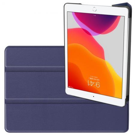 Двухсторонний Чехол Книжка для планшета iPad 10.2 2019 Искусственно Кожаный с Подставкой Синий