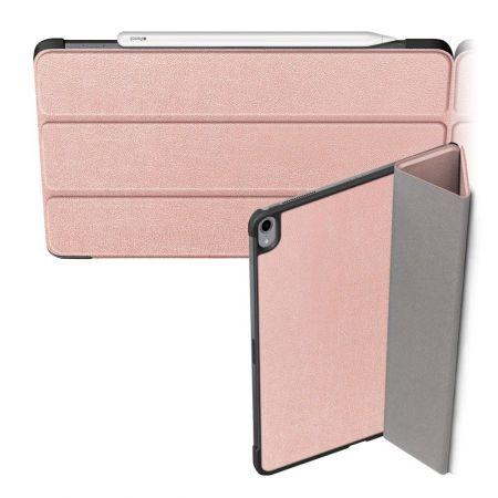 Двухсторонний Чехол Книжка для планшета iPad Air 2020 Искусственно Кожаный с Подставкой Светло Розовый