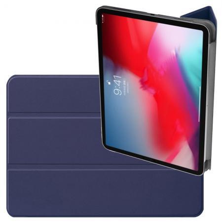 Двухсторонний Чехол Книжка для планшета iPad Pro 11 2018 Искусственно Кожаный с Подставкой Синий