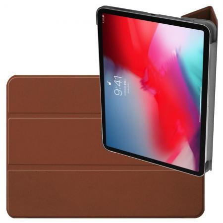 Двухсторонний Чехол Книжка для планшета iPad Pro 11 2018 Искусственно Кожаный с Подставкой Коричневый