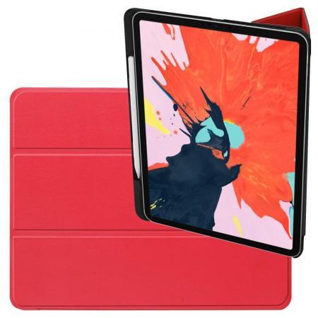 Двухсторонний Чехол Книжка для планшета iPad Pro 12.9 2018 Искусственно Кожаный с Подставкой Красный