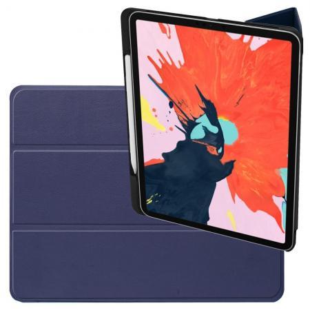 Двухсторонний Чехол Книжка для планшета iPad Pro 12.9 2018 Искусственно Кожаный с Подставкой Синий