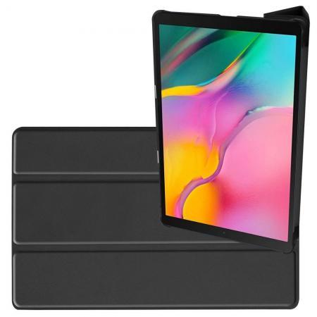 Двухсторонний Чехол Книжка для планшета Samsung Galaxy TAB A 10.1 2019 SM-T515 SM-T510 Искусственно Кожаный с Подставкой Черный