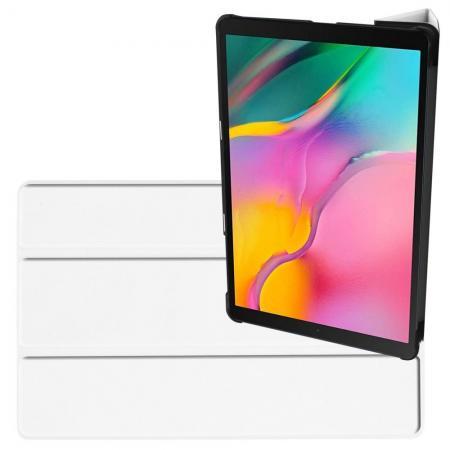 Двухсторонний Чехол Книжка для планшета Samsung Galaxy TAB A 10.1 2019 SM-T515 SM-T510 Искусственно Кожаный с Подставкой Белый