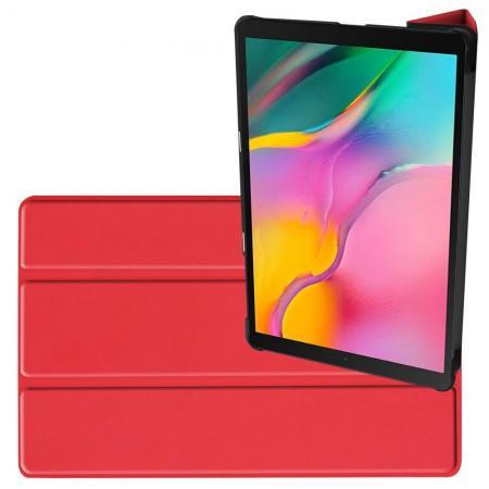 Двухсторонний Чехол Книжка для планшета Samsung Galaxy TAB A 10.1 2019 SM-T515 SM-T510 Искусственно Кожаный с Подставкой Красный