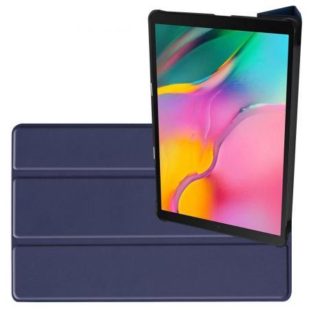 Двухсторонний Чехол Книжка для планшета Samsung Galaxy TAB A 10.1 2019 SM-T515 SM-T510 Искусственно Кожаный с Подставкой Синий