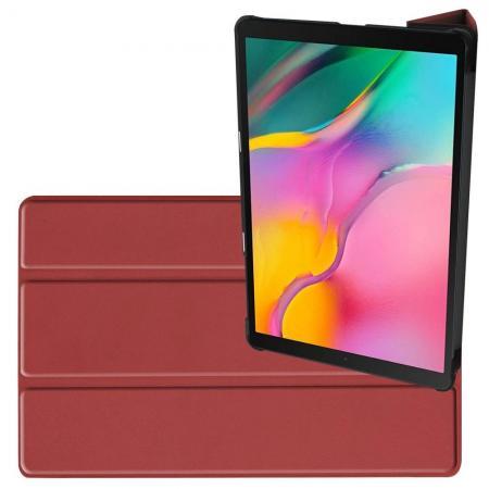 Двухсторонний Чехол Книжка для планшета Samsung Galaxy TAB A 10.1 2019 SM-T515 SM-T510 Искусственно Кожаный с Подставкой Коричневый