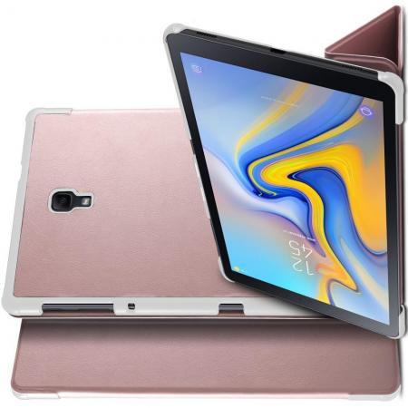 Двухсторонний Чехол Книжка для планшета Samsung Galaxy Tab A 10.5 SM-T595 SM-T590 Искусственно Кожаный с Подставкой Розовое Золото