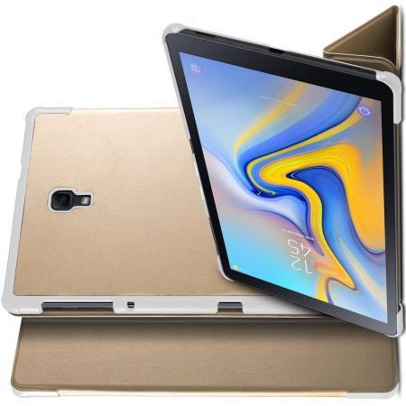 Двухсторонний Чехол Книжка для планшета Samsung Galaxy Tab A 10.5 SM-T595 SM-T590 Искусственно Кожаный с Подставкой Золотой