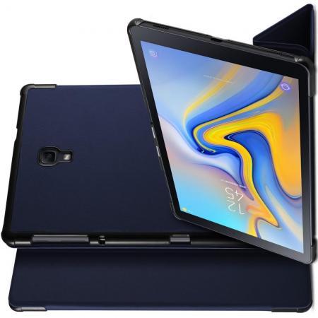 Двухсторонний Чехол Книжка для планшета Samsung Galaxy Tab A 10.5 SM-T595 SM-T590 Искусственно Кожаный с Подставкой Синий