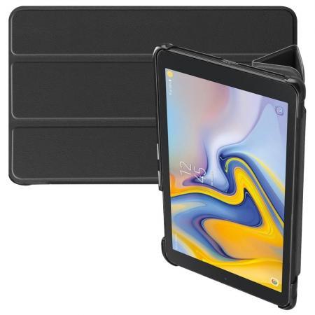 Двухсторонний Чехол Книжка для планшета Samsung Galaxy Tab A 8.0 2018 SM-T387 Искусственно Кожаный с Подставкой Черный