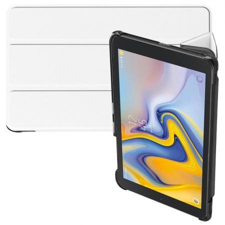 Двухсторонний Чехол Книжка для планшета Samsung Galaxy Tab A 8.0 2018 SM-T387 Искусственно Кожаный с Подставкой Белый