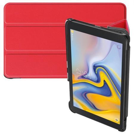 Двухсторонний Чехол Книжка для планшета Samsung Galaxy Tab A 8.0 2018 SM-T387 Искусственно Кожаный с Подставкой Красный