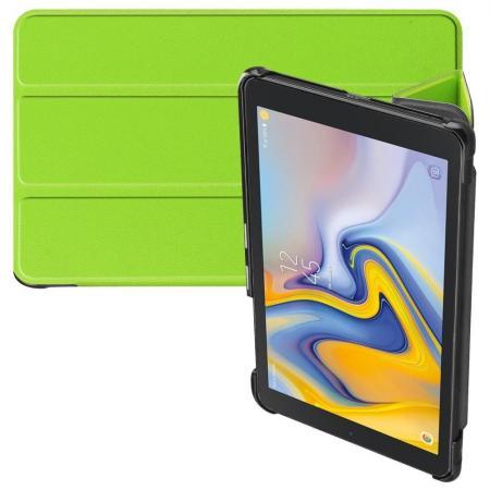 Двухсторонний Чехол Книжка для планшета Samsung Galaxy Tab A 8.0 2018 SM-T387 Искусственно Кожаный с Подставкой Зеленый