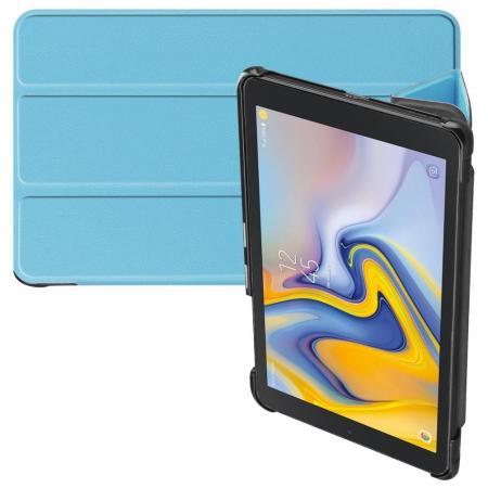 Двухсторонний Чехол Книжка для планшета Samsung Galaxy Tab A 8.0 2018 SM-T387 Искусственно Кожаный с Подставкой Голубой
