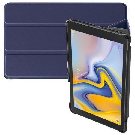 Двухсторонний Чехол Книжка для планшета Samsung Galaxy Tab A 8.0 2018 SM-T387 Искусственно Кожаный с Подставкой Синий