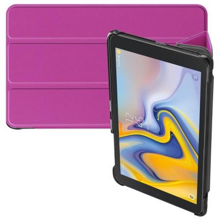 Двухсторонний Чехол Книжка для планшета Samsung Galaxy Tab A 8.0 2018 SM-T387 Искусственно Кожаный с Подставкой Фиолетовый