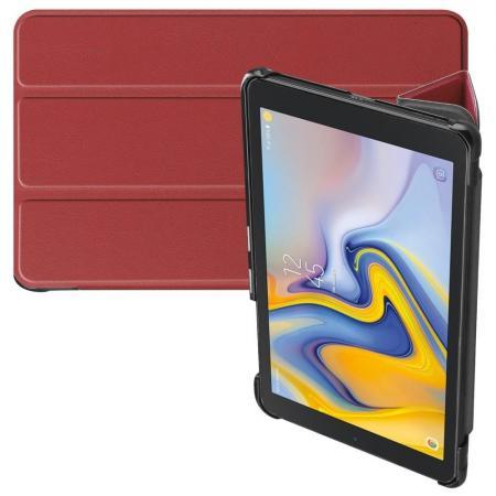 Двухсторонний Чехол Книжка для планшета Samsung Galaxy Tab A 8.0 2018 SM-T387 Искусственно Кожаный с Подставкой Коричневый
