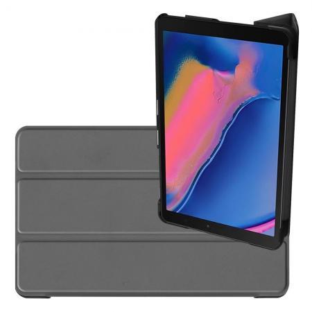 Двухсторонний Чехол Книжка для планшета Samsung Galaxy Tab A 8.0 2019 SM-P200 SM-P205 Искусственно Кожаный с Подставкой Серый