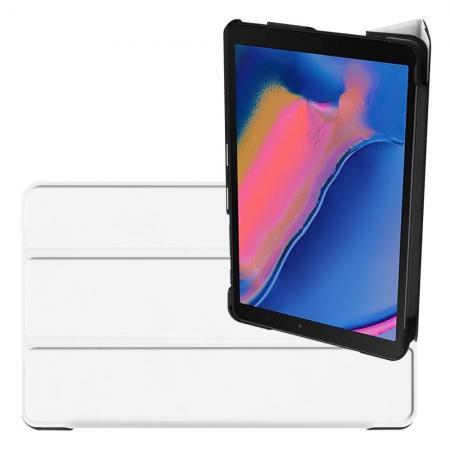 Двухсторонний Чехол Книжка для планшета Samsung Galaxy Tab A 8.0 2019 SM-P200 SM-P205 Искусственно Кожаный с Подставкой Белый
