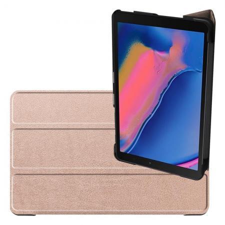 Двухсторонний Чехол Книжка для планшета Samsung Galaxy Tab A 8.0 2019 SM-P200 SM-P205 Искусственно Кожаный с Подставкой Золотой